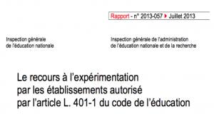 Le recours à l'expérimentation par les établissements – Rapport de l'IGEN