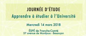 Journée d'étude «Apprendre à étudier à l'Université» – mercredi 14 mars 2018