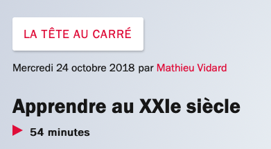 """Réécoutez """"La Tête au carré"""" du 24 octobre 2018 avec François Taddéi"""