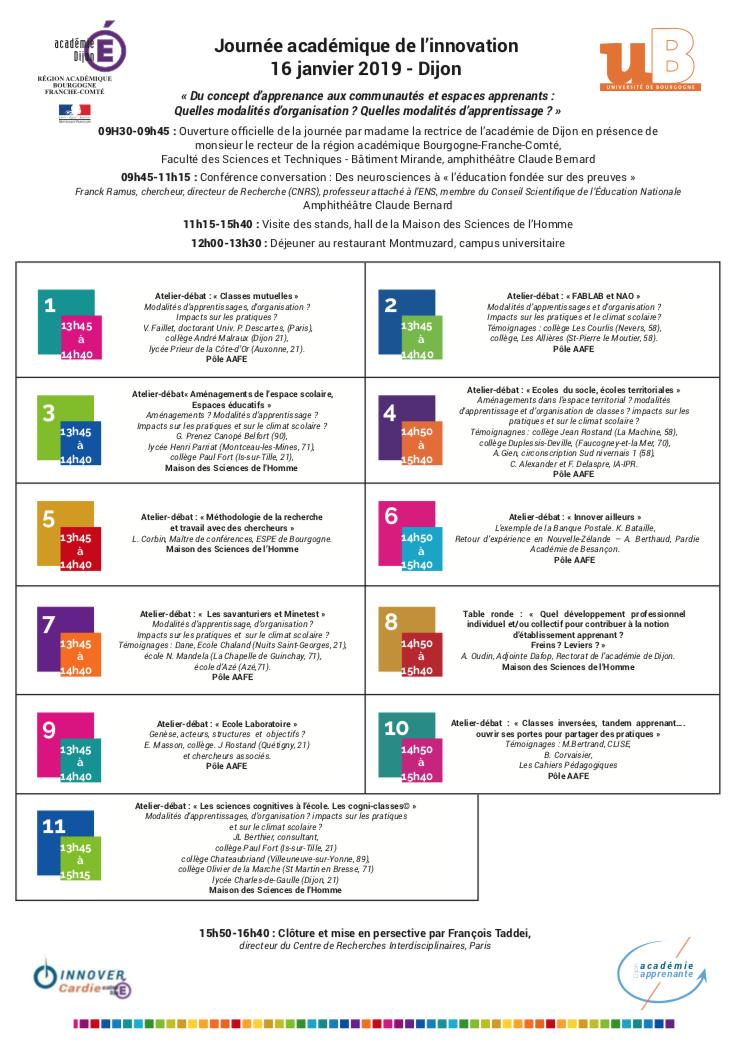Journée académique de l'innovation – Dijon – 16 janvier 2019