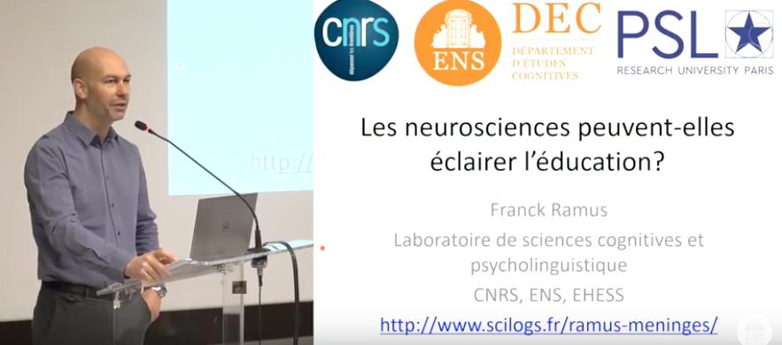 Les neurosciences peuvent-elles éclairer l'éducation ? Conférence de Franck Ramus