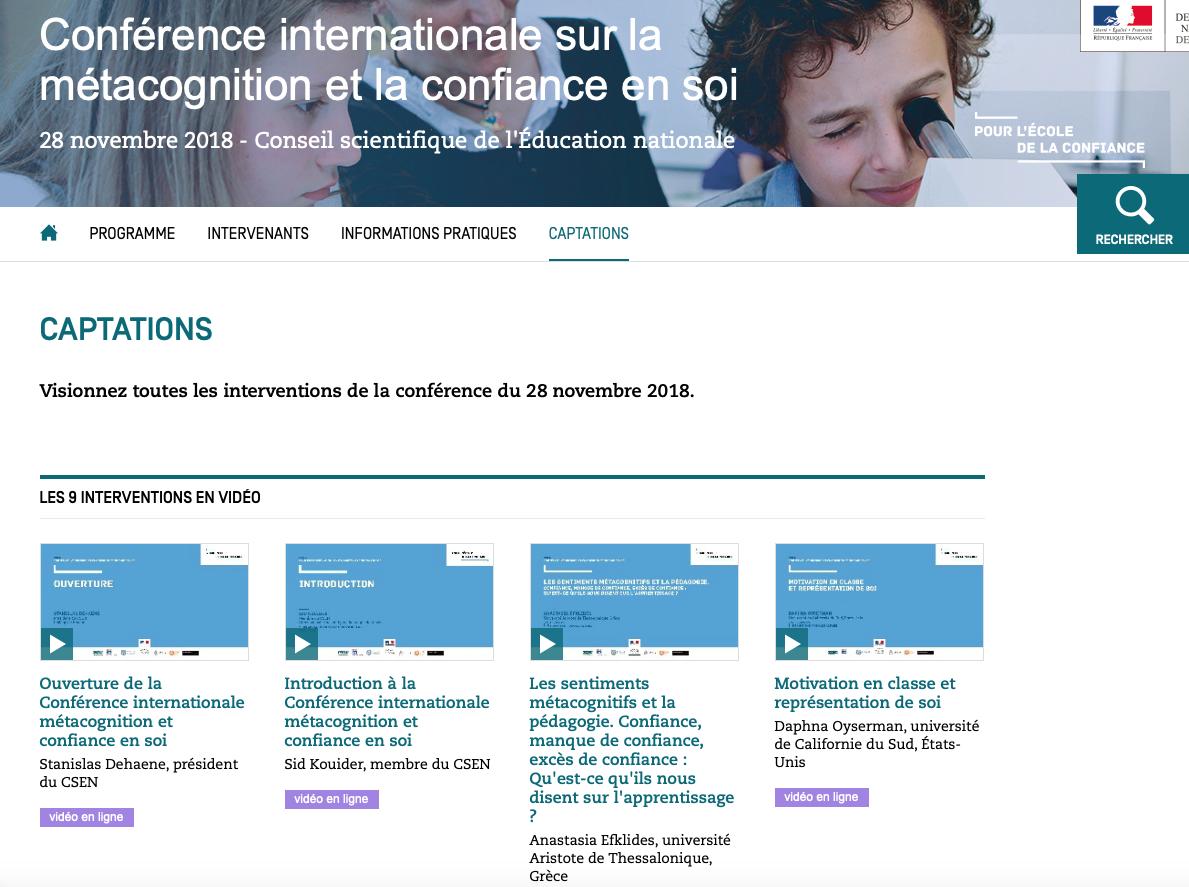 Visionnez tous les exposés de la conférence internationale sur la métacognition et la confiance en soi