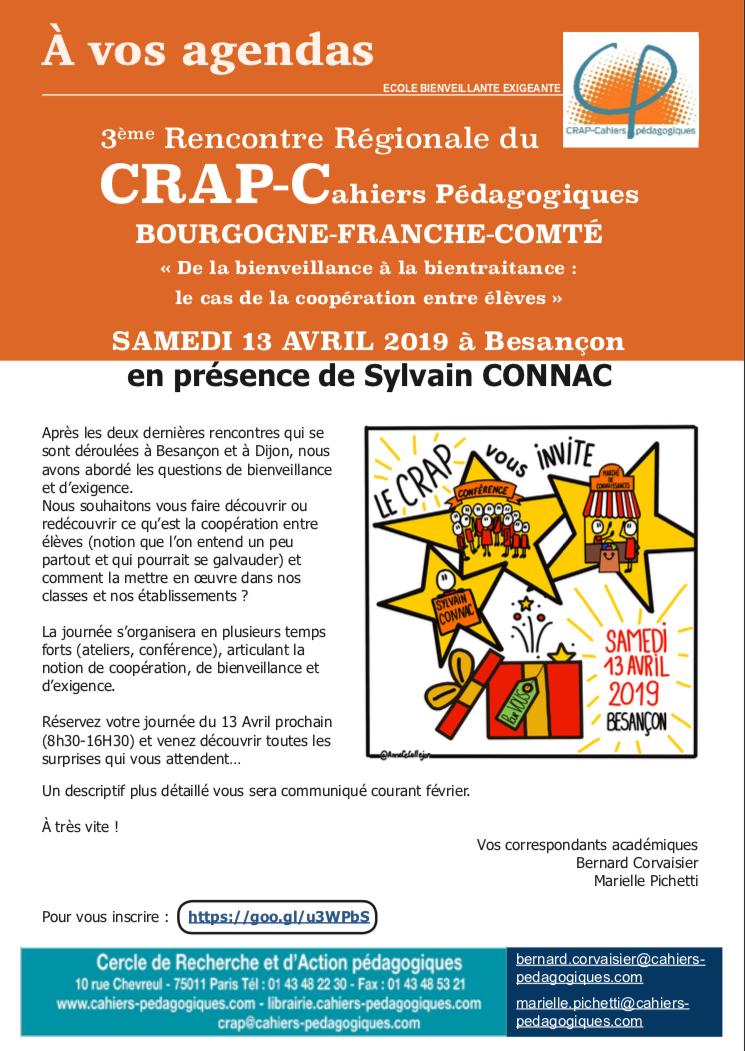 """""""De la bienveillance à la bientraitance : le cas de la coopération entre élèves"""" – Samedi 13 avril à Besançon"""