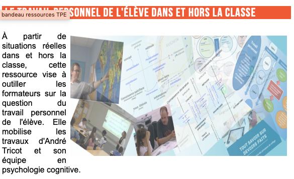 Le travail personnel de l'élève dans et hors la classe : des ressources pour la formation – Ifé Centre Alain-Savary