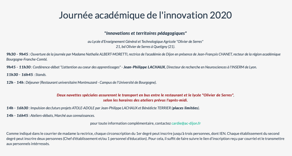 Journée académique de l'innovation – Académie de Dijon – Mercredi 19 février 2020