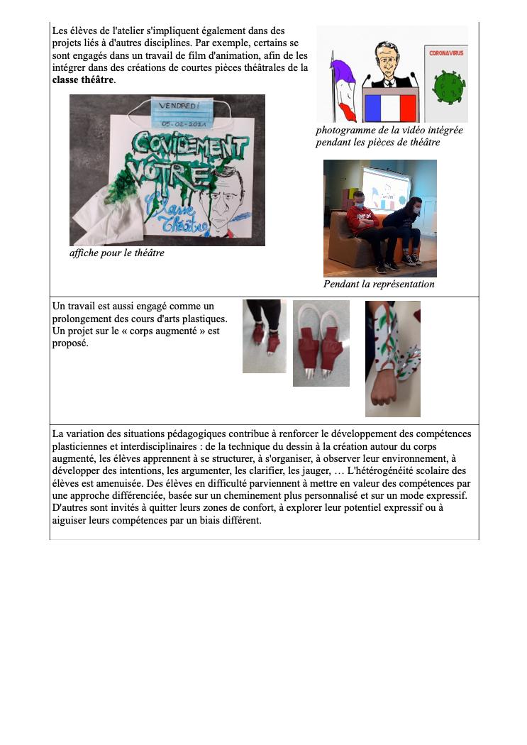 Un atelier arts plastiques au collège Rouget de Lisle
